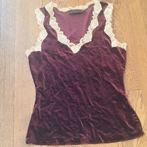 Velvet Burgundy And Lace Top